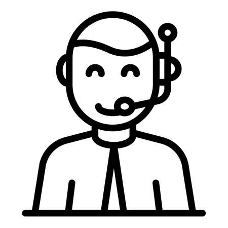 Headset communication icon, outline style Иллюстрация