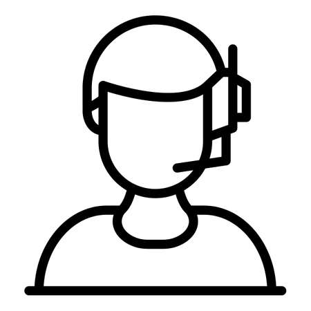 Man headset icon, outline style