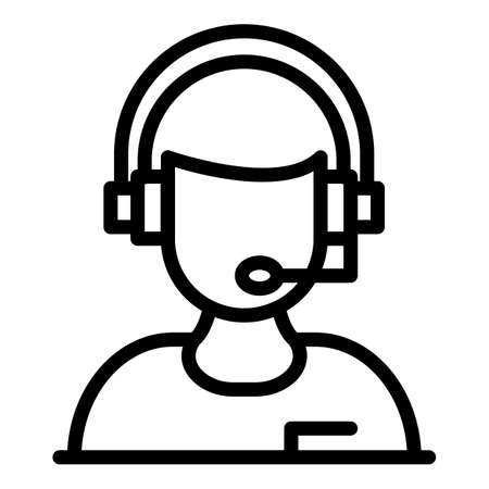 Woman headset icon, outline style