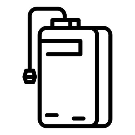 Battery power bank icon, outline style