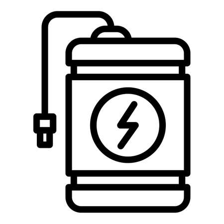 Flash charge power bank icon, outline style Иллюстрация