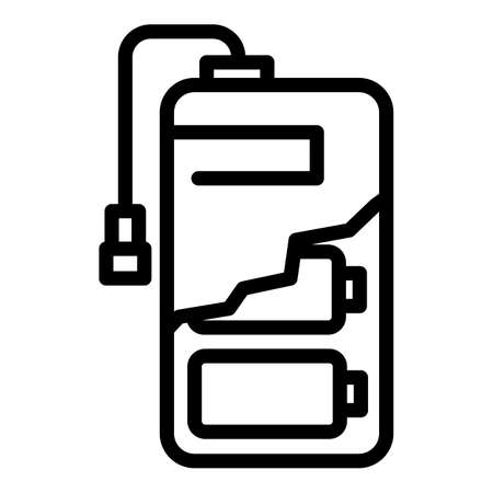 Cell battery power bank icon, outline style
