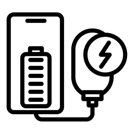 Full charge power bank icon, outline style