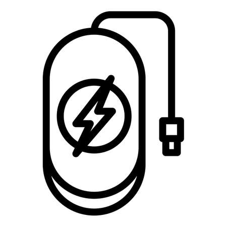 Wireless charge power bank icon, outline style