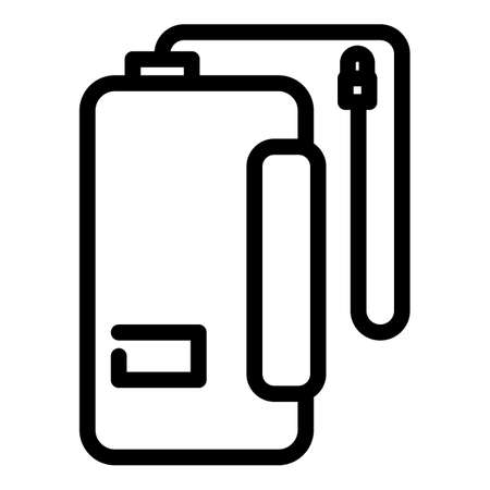 Cord power bank icon, outline style
