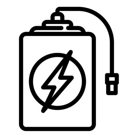 Quick charge power bank icon, outline style Иллюстрация
