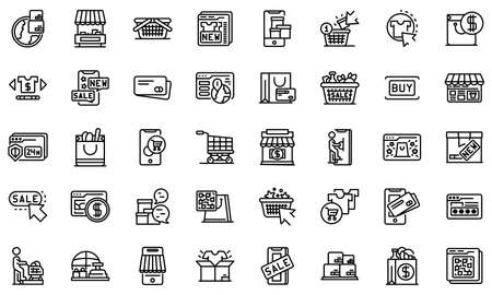 Online shopping icons set, outline style  イラスト・ベクター素材