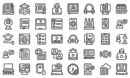 Online training icons set, outline style