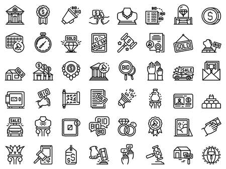 Auction icons set, outline style
