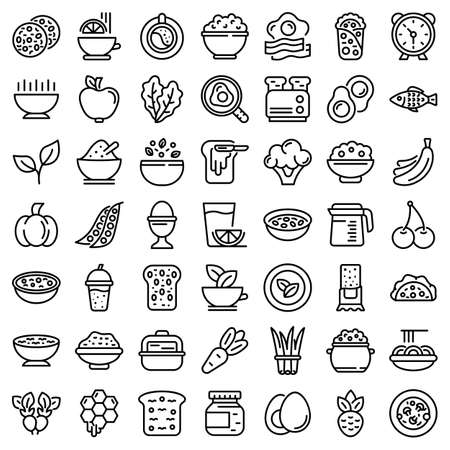 Healthy breakfast icons set, outline style