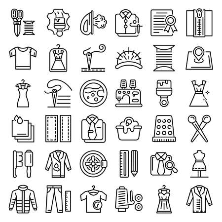Clothing repair icons set, outline style