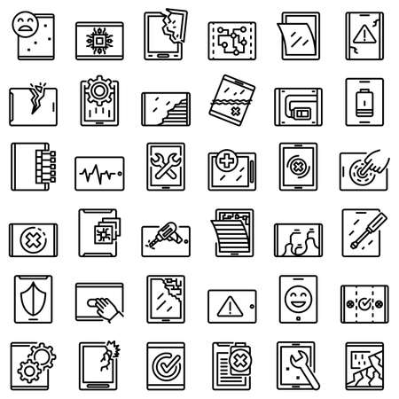 Tablet repair icons set, outline style