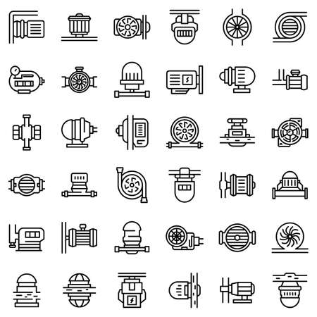 Pump icons set, outline style