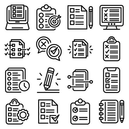Assignment icons set, outline style  イラスト・ベクター素材