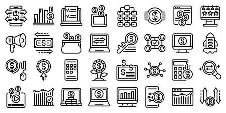 Monetization icons set, outline style