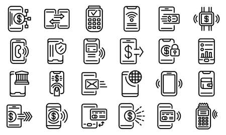 Mobile payment icons set, outline style  イラスト・ベクター素材