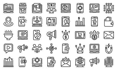 Online marketing icons set, outline style
