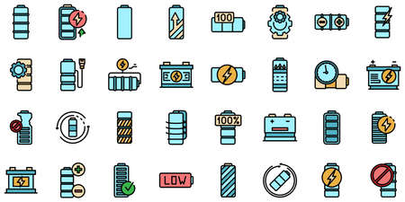Battery icons set vector flat