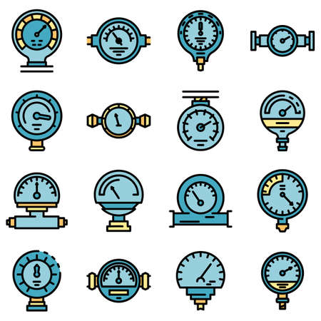 Manometer icons set vector flat