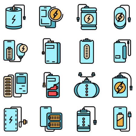 Power bank icons set vector flat 矢量图像