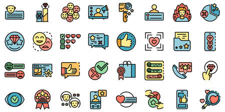 Product review icons set vector flat