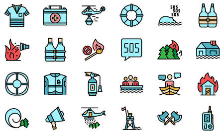 Rescuer icons set vector flat