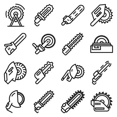 Electric saw icons set, outline style Иллюстрация