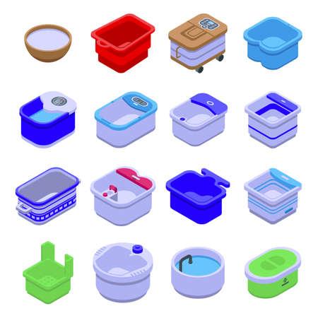 Foot bath icons set, isometric style