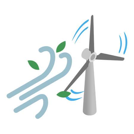 Wind energy icon, isometric style Vector Illustration