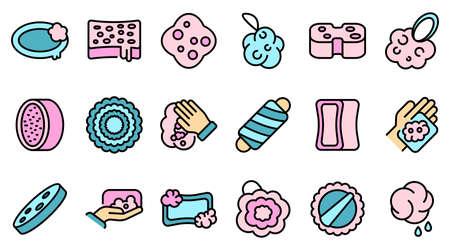 Washcloth icons set vector flat