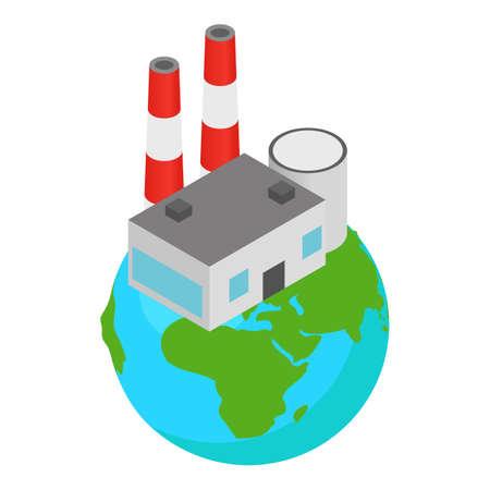 Polluting industry icon, isometric style Stock Illustratie
