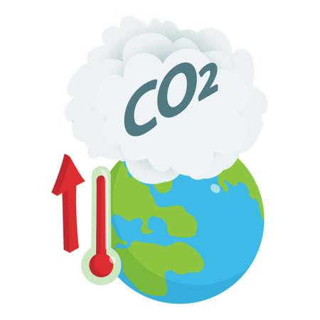 Global warming icon, isometric style