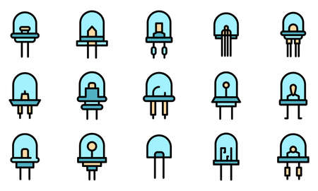 Diode icons set vector flat
