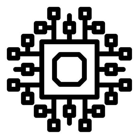 Computer cpu icon, outline style