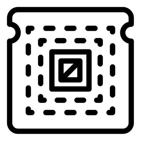 Central processor icon, outline style