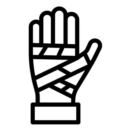 Bandaged hand icon, outline style Vectores