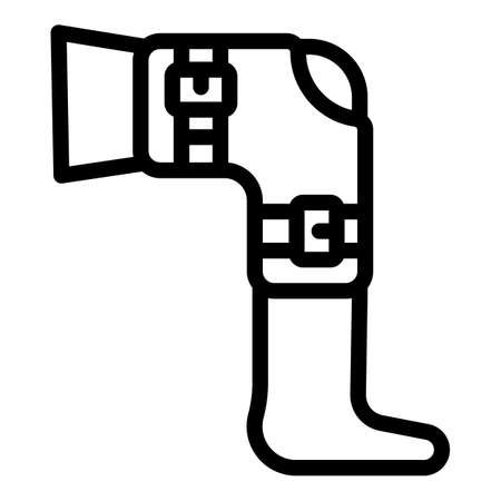 Knee fracture icon, outline style 向量圖像