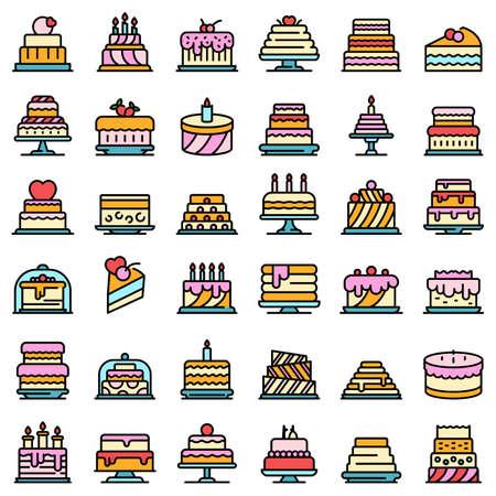 Cake icons set vector flat 일러스트