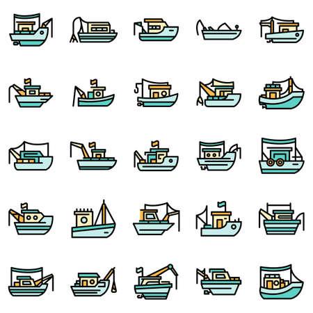 Fishing boat icons set vector flat Vecteurs