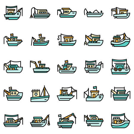 Fishing boat icons set vector flat 向量圖像