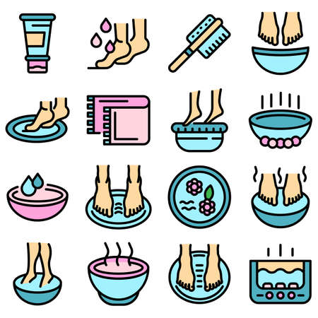 Foot bath icons set vector flat