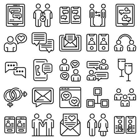 Acquaintance icons set, outline style