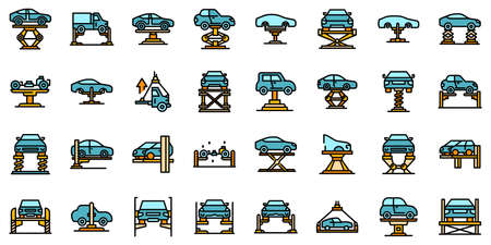 Car lift icons set vector flat