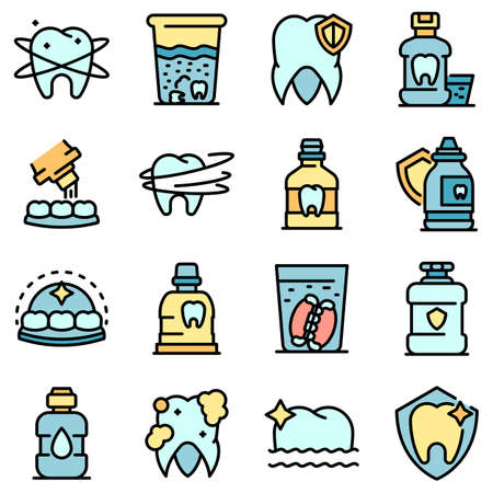 Tooth rinse icons set vector flat
