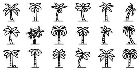 Palm icons set, outline style