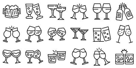 Cheers icons set, outline style  イラスト・ベクター素材