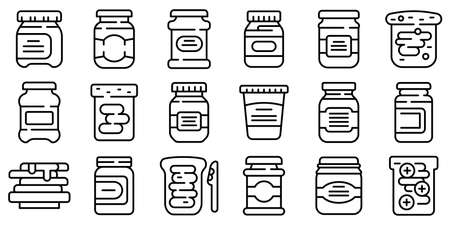 Chocolate paste icons set, outline style Vettoriali