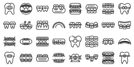 Tooth braces icons set, outline style