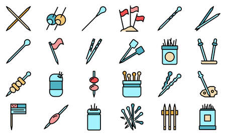 Toothpick icons set vector flat