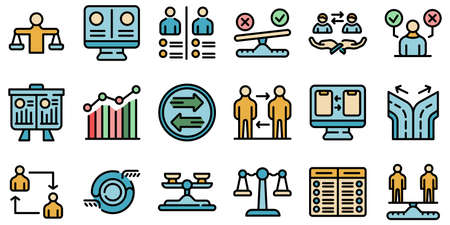 Comparison icons set vector flat